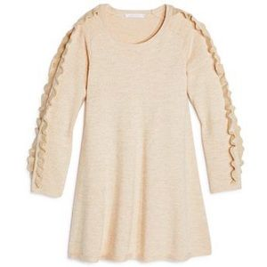 CHLOE | Ruffle Sleeve Sweater Dress Metallic Knit